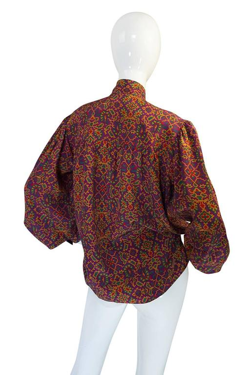 1970s Stunning Silk Print Yves Saint Laurent Top 2