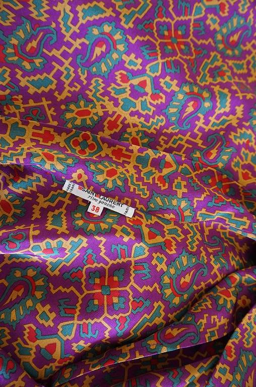 1970s Stunning Silk Print Yves Saint Laurent Top For Sale 1