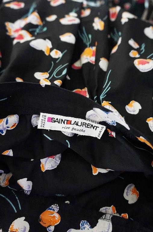 Women's 1970s Yves Saint Laurent Floral Printed Full Cotton Skirt For Sale