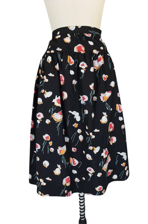 Black 1970s Yves Saint Laurent Floral Printed Full Cotton Skirt For Sale