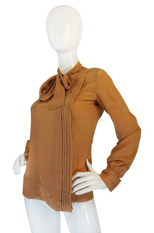 Brown 1970s Chanel Numbered True Haute Couture Silk Top For Sale