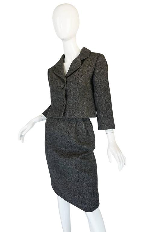 1958 Balenciaga Numbered True Haute Couture Grey Suit 3