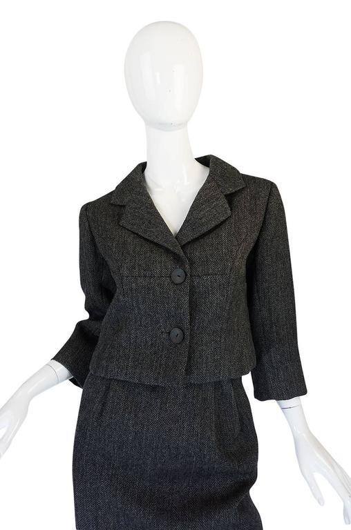 1958 Balenciaga Numbered True Haute Couture Grey Suit 4