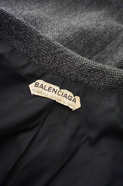 1958 Balenciaga Numbered True Haute Couture Grey Suit 9