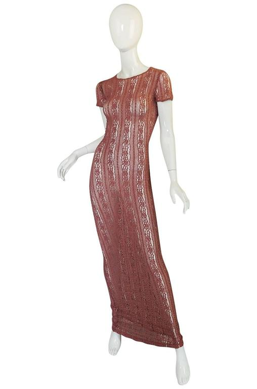 1990s Dusky Rose John Galliano Open Weave Knit Dress 3