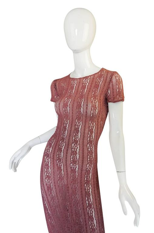 1990s Dusky Rose John Galliano Open Weave Knit Dress 4
