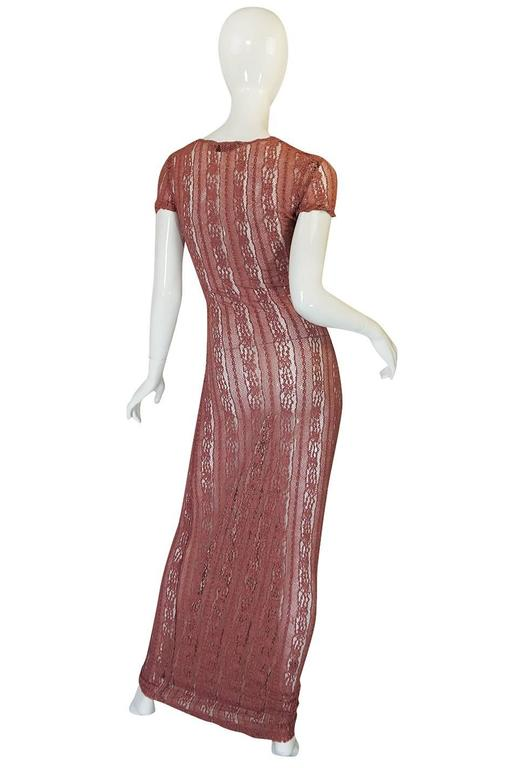 1990s Dusky Rose John Galliano Open Weave Knit Dress 2