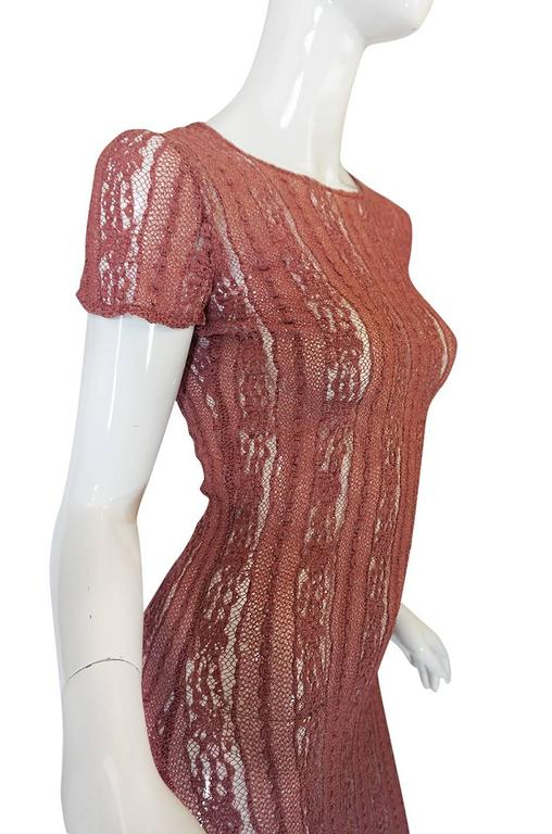 1990s Dusky Rose John Galliano Open Weave Knit Dress 6