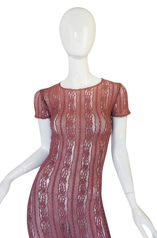 1990s Dusky Rose John Galliano Open Weave Knit Dress 7