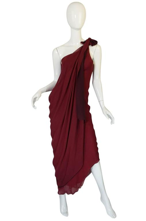 Halston Couture Silk Chiffon Dress and Shawl Overlay, circa 1973  In Good Condition For Sale In Rockwood, ON