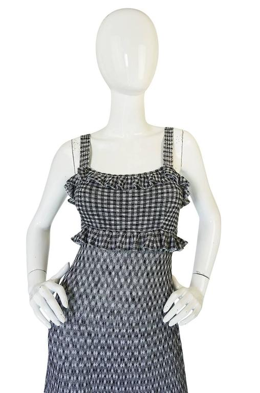 Recent Chanel Black & White Gingham Check Knit Maxi Dress 4