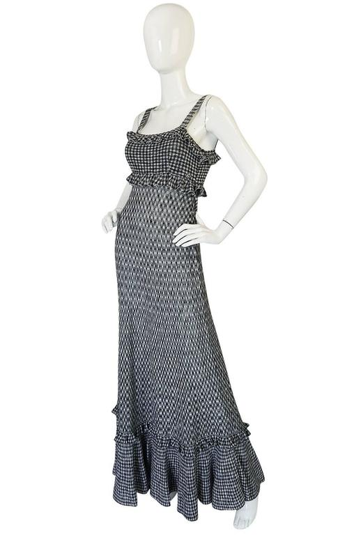 Recent Chanel Black & White Gingham Check Knit Maxi Dress 3