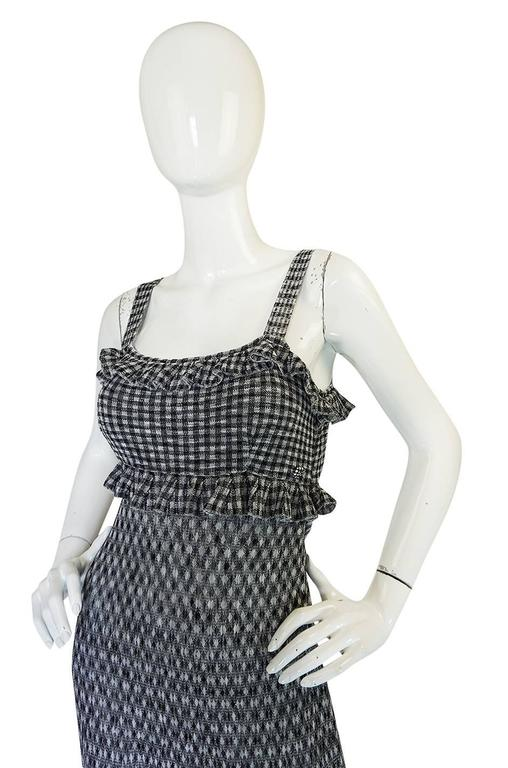 Recent Chanel Black & White Gingham Check Knit Maxi Dress 5