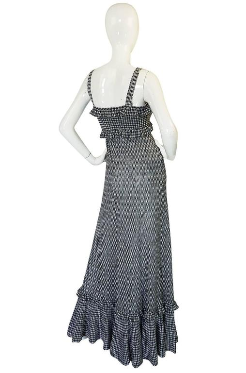 Recent Chanel Black & White Gingham Check Knit Maxi Dress 2