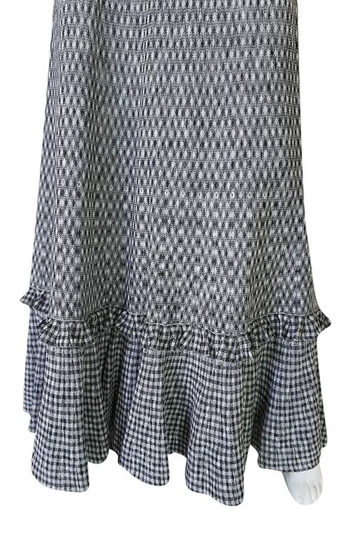 Recent Chanel Black & White Gingham Check Knit Maxi Dress 8