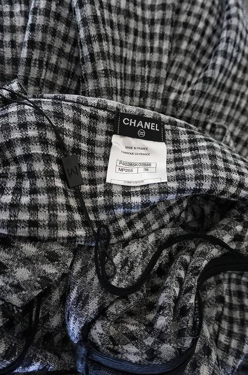 Recent Chanel Black & White Gingham Check Knit Maxi Dress 10