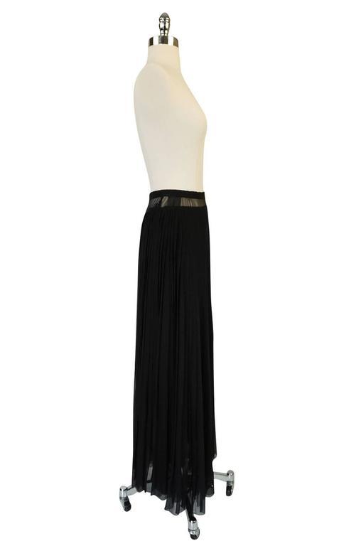 1970s Christian Dior Haute Couture Black Silk Chiffon Skirt 3