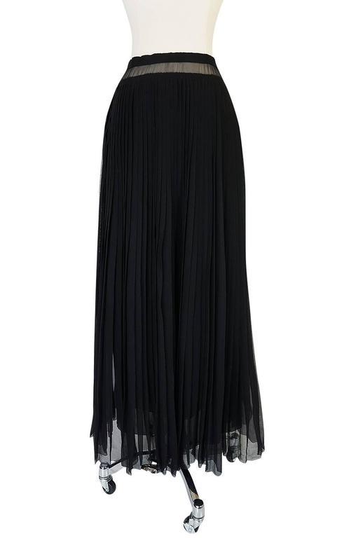 Women's 1970s Christian Dior Haute Couture Black Silk Chiffon Skirt For Sale