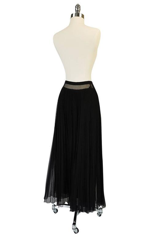 1970s Christian Dior Haute Couture Black Silk Chiffon Skirt 2