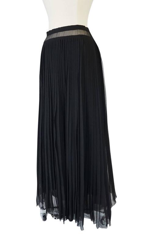 1970s Christian Dior Haute Couture Black Silk Chiffon Skirt For Sale 1