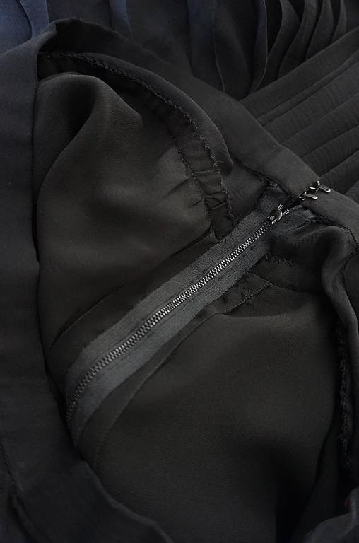 1970s Christian Dior Haute Couture Black Silk Chiffon Skirt For Sale 3
