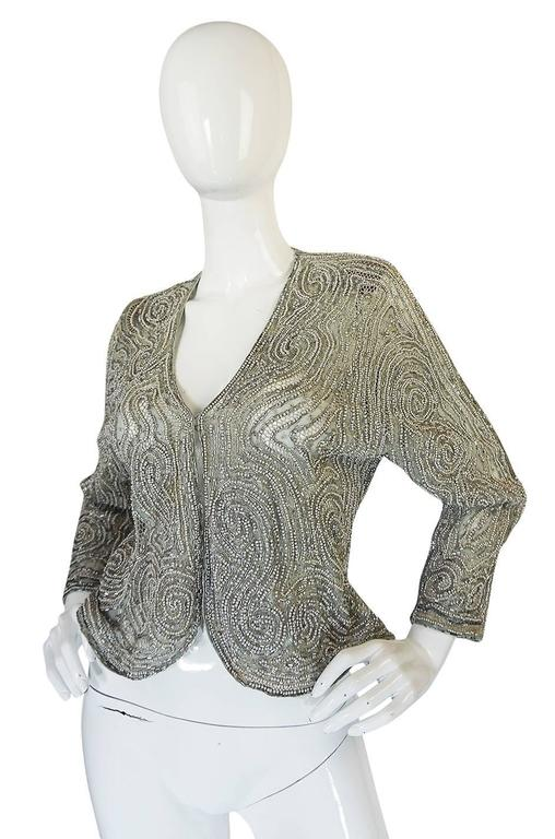 c1981 Documented Halston Couture Beaded & Pearl Jacket 3