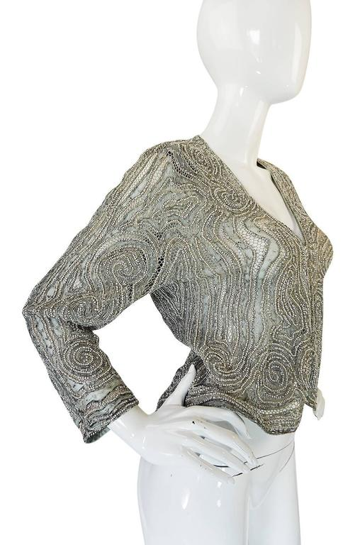 c1981 Documented Halston Couture Beaded & Pearl Jacket 4
