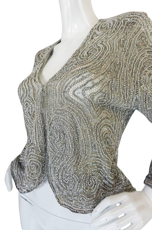c1981 Documented Halston Couture Beaded & Pearl Jacket 5