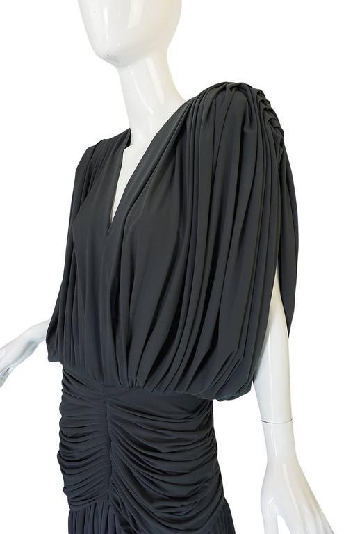 1980s Gray Norma Kamali Jersey Dress & Shawl Set 7