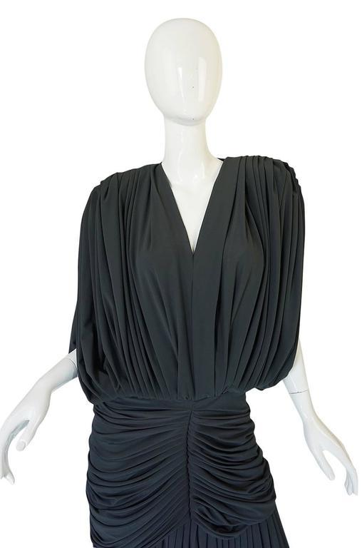 1980s Gray Norma Kamali Jersey Dress & Shawl Set 6