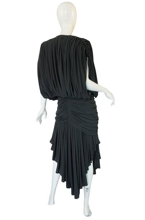 1980s Gray Norma Kamali Jersey Dress & Shawl Set 5