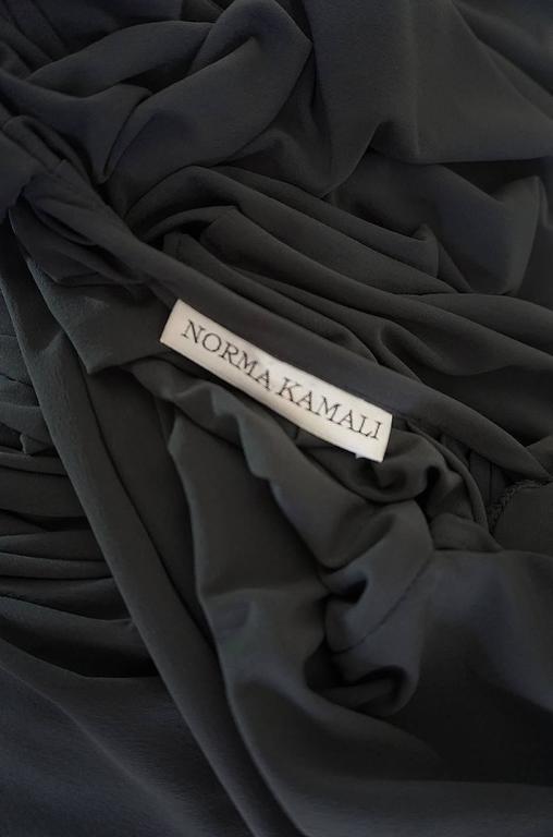 1980s Gray Norma Kamali Jersey Dress & Shawl Set 10