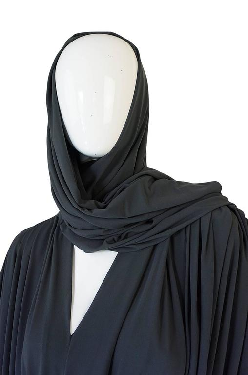 1980s Gray Norma Kamali Jersey Dress & Shawl Set 8