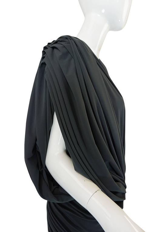 1980s Gray Norma Kamali Jersey Dress & Shawl Set 9
