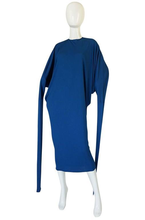 1980s OMO Norma Kamali Jersey Dramatic Sleeved Dress 3