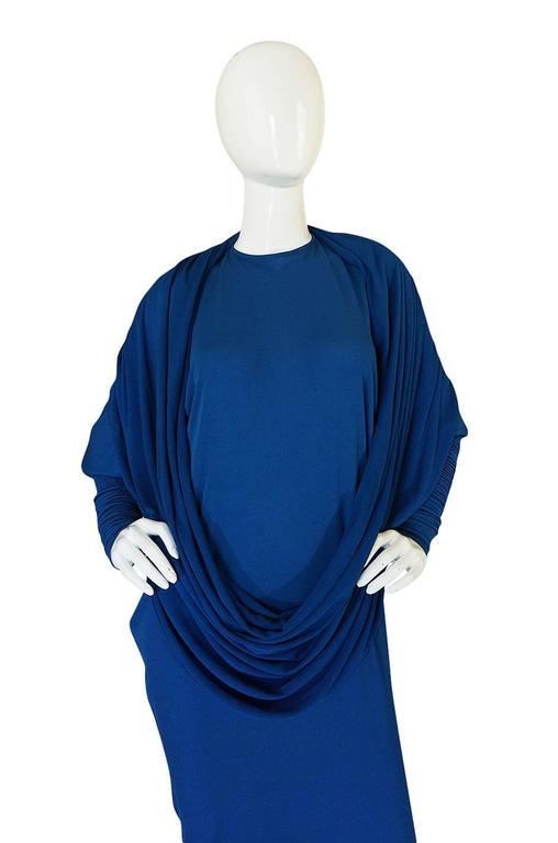 1980s OMO Norma Kamali Jersey Dramatic Sleeved Dress 6