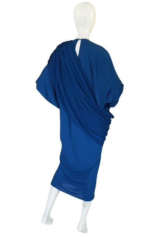 1980s OMO Norma Kamali Jersey Dramatic Sleeved Dress 4