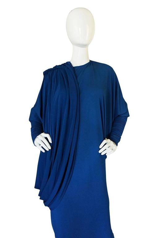 1980s OMO Norma Kamali Jersey Dramatic Sleeved Dress 7