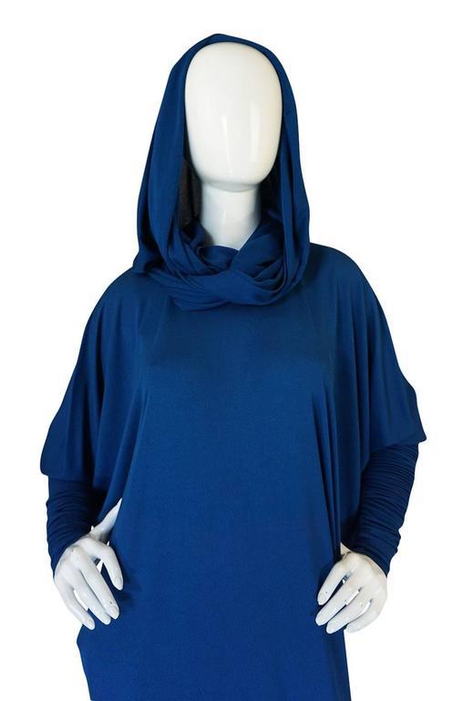 1980s OMO Norma Kamali Jersey Dramatic Sleeved Dress 8