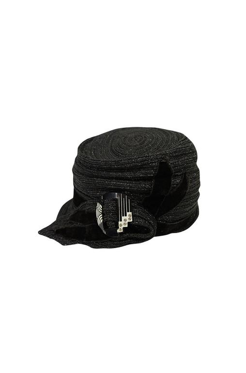 1920s Black Straw Flapper Hat with Celluloid Buckle 5