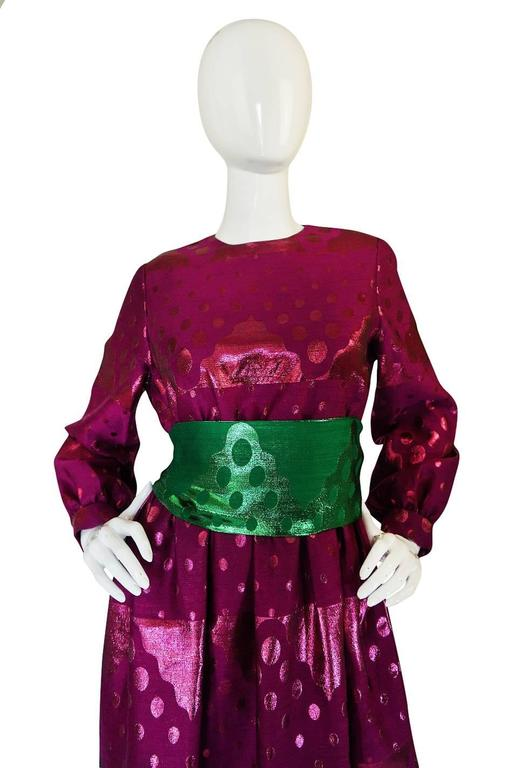 1960s Oscar de la Renta Metallic Dot Dress with Green Sash For Sale 1