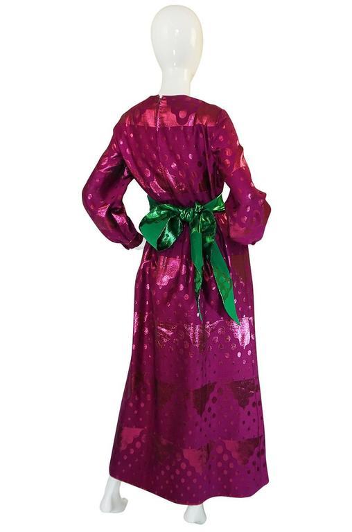 Women's 1960s Oscar de la Renta Metallic Dot Dress with Green Sash For Sale