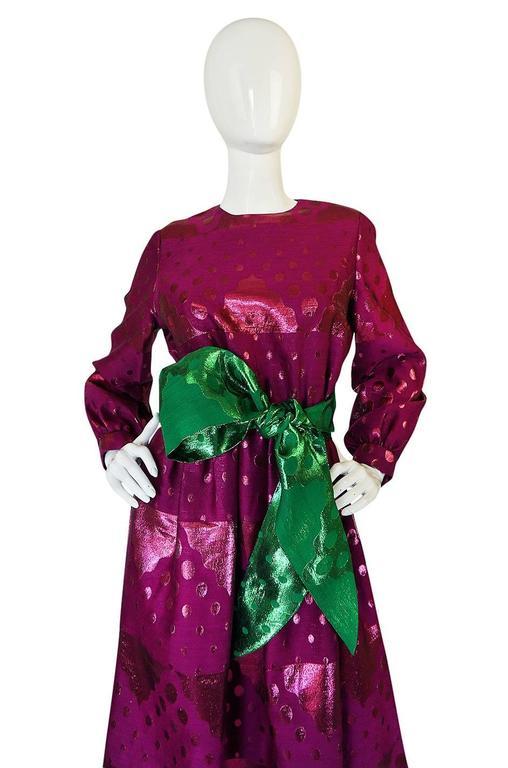 1960s Oscar de la Renta Metallic Dot Dress with Green Sash For Sale 2
