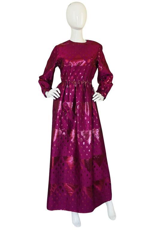 Purple 1960s Oscar de la Renta Metallic Dot Dress with Green Sash For Sale