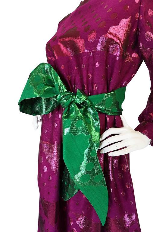 1960s Oscar de la Renta Metallic Dot Dress with Green Sash For Sale 4
