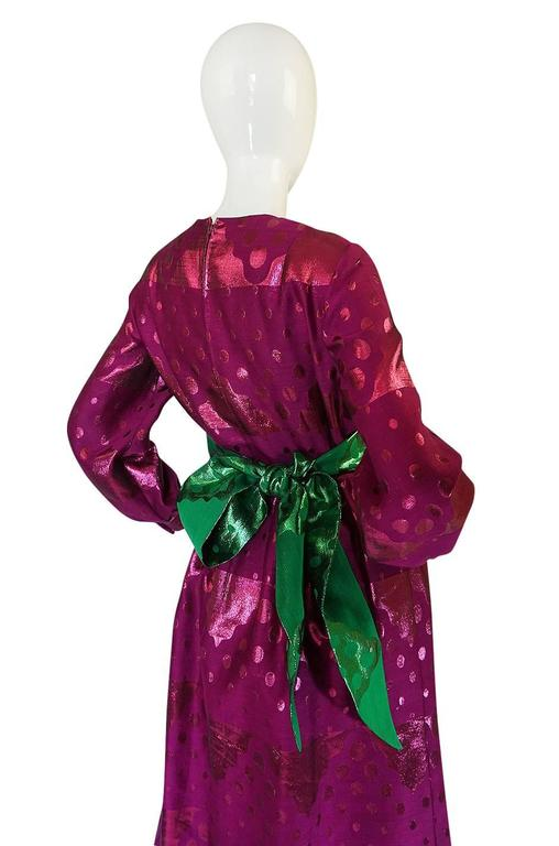 1960s Oscar de la Renta Metallic Dot Dress with Green Sash For Sale 3