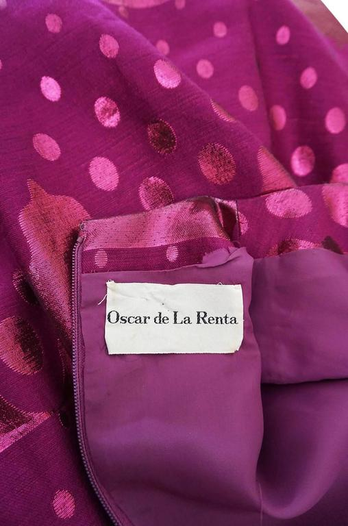 1960s Oscar de la Renta Metallic Dot Dress with Green Sash For Sale 5