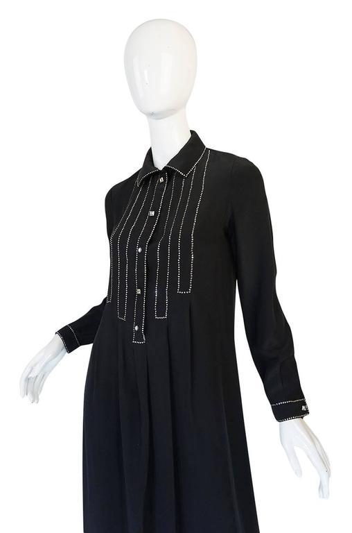 1960s Black Silk Sequin Front Geoffrey Beene Dress 5