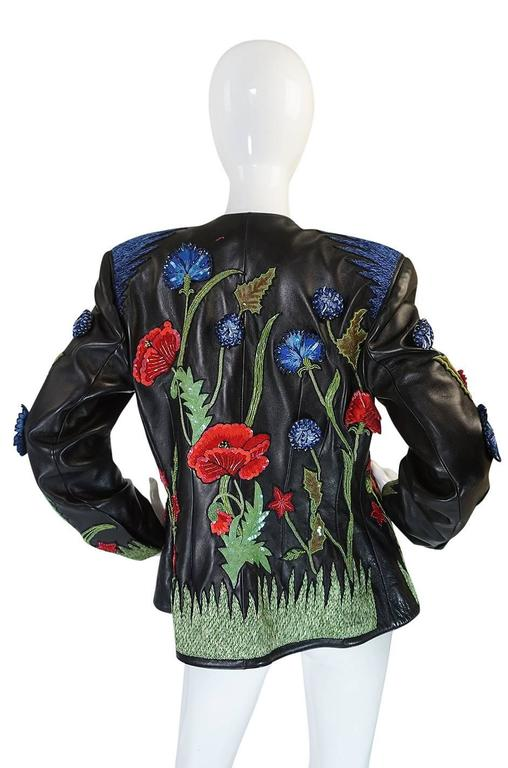 The embroidery work on this butter soft, black leather jacket is exquisite. The work is all done by Lesage and it is mind boggling in person. I have tried to capture the dimension and 3D aspect of it with my camera but it just does not convey