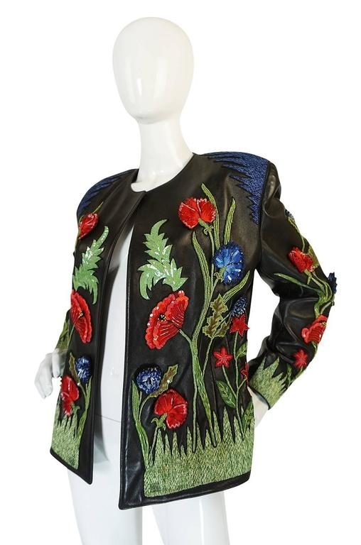 Black 1987 Jean-Claude Jitrois Lesage 3D Floral Leather Jacket For Sale